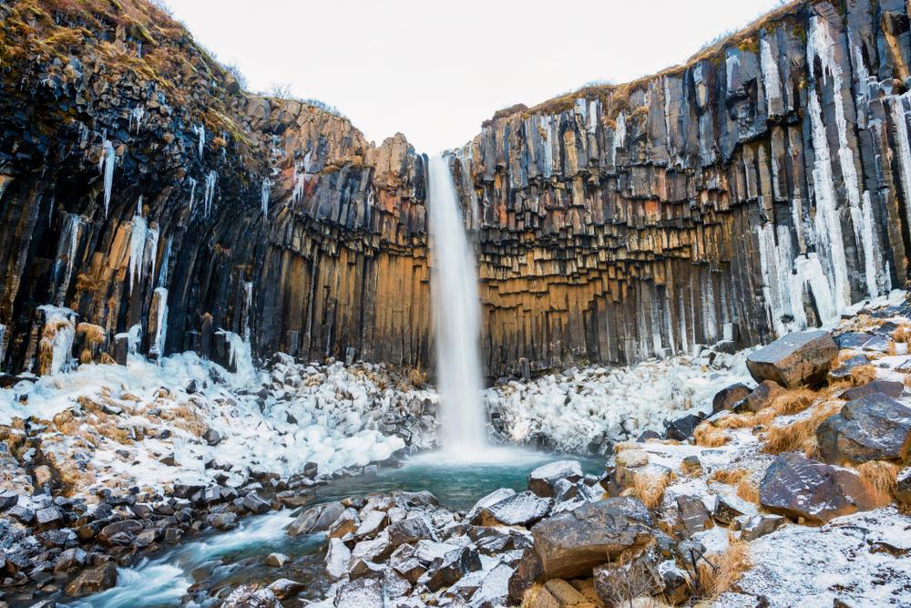 Svartifoss Waterfall in Iceland in the winter