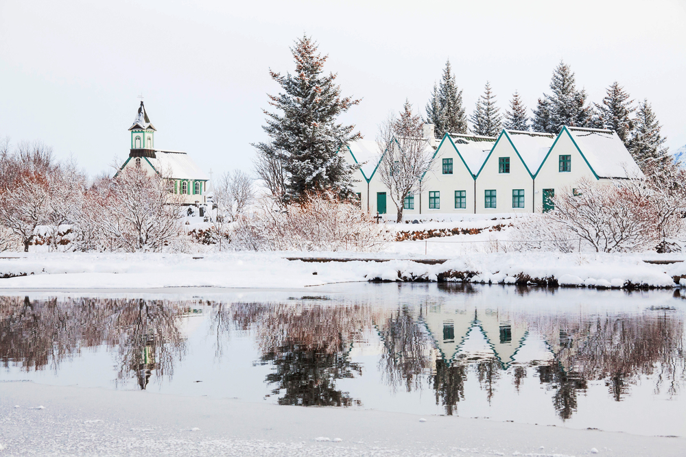 Thingvellir National Park in iceland in the winter