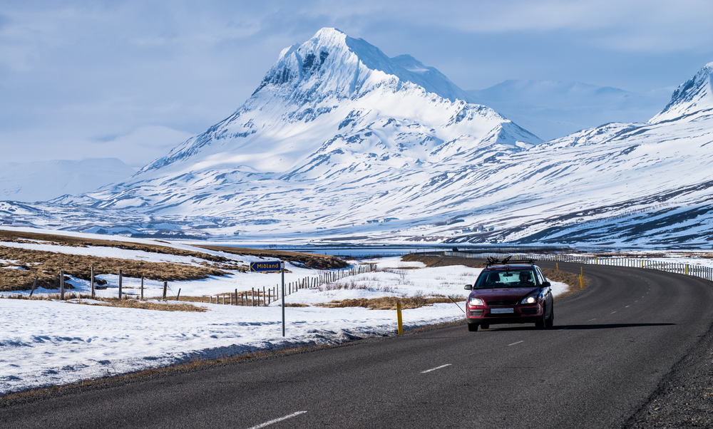 Driving on Iceland Ring Road in the winter