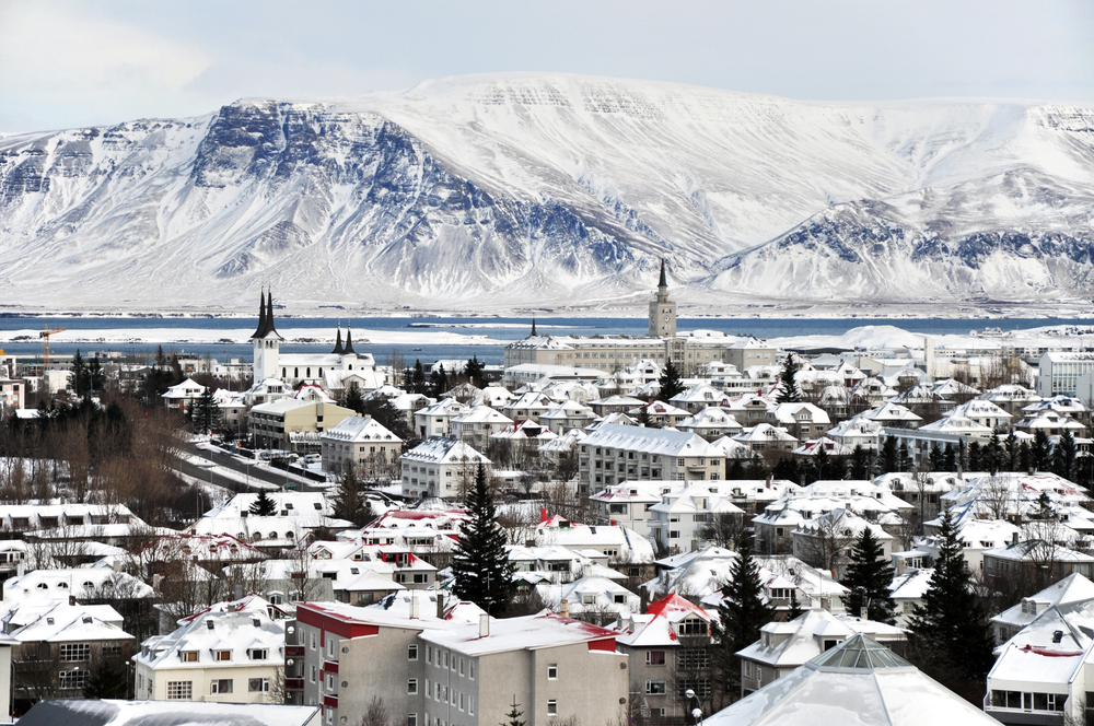 A view over Reykjavik in the winter