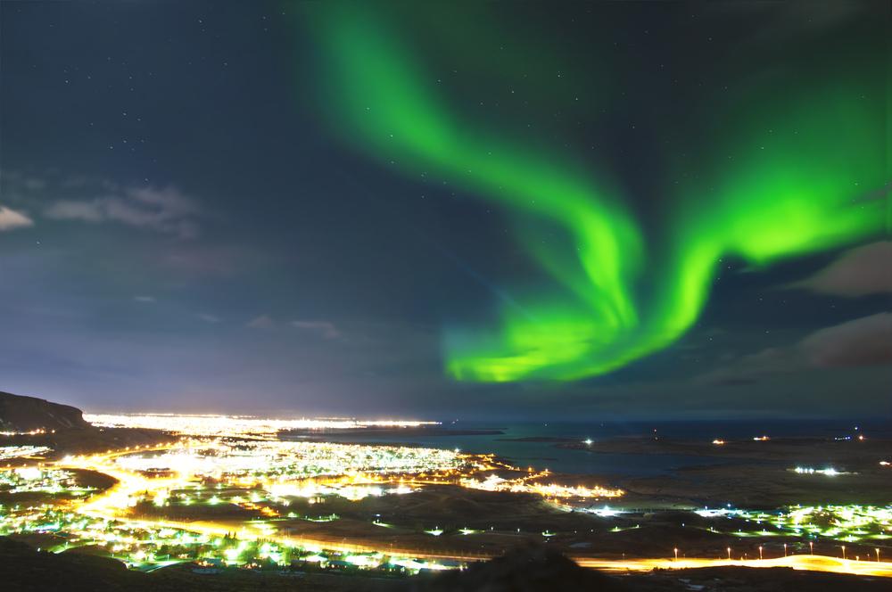 The norther lights in  Reykjavik
