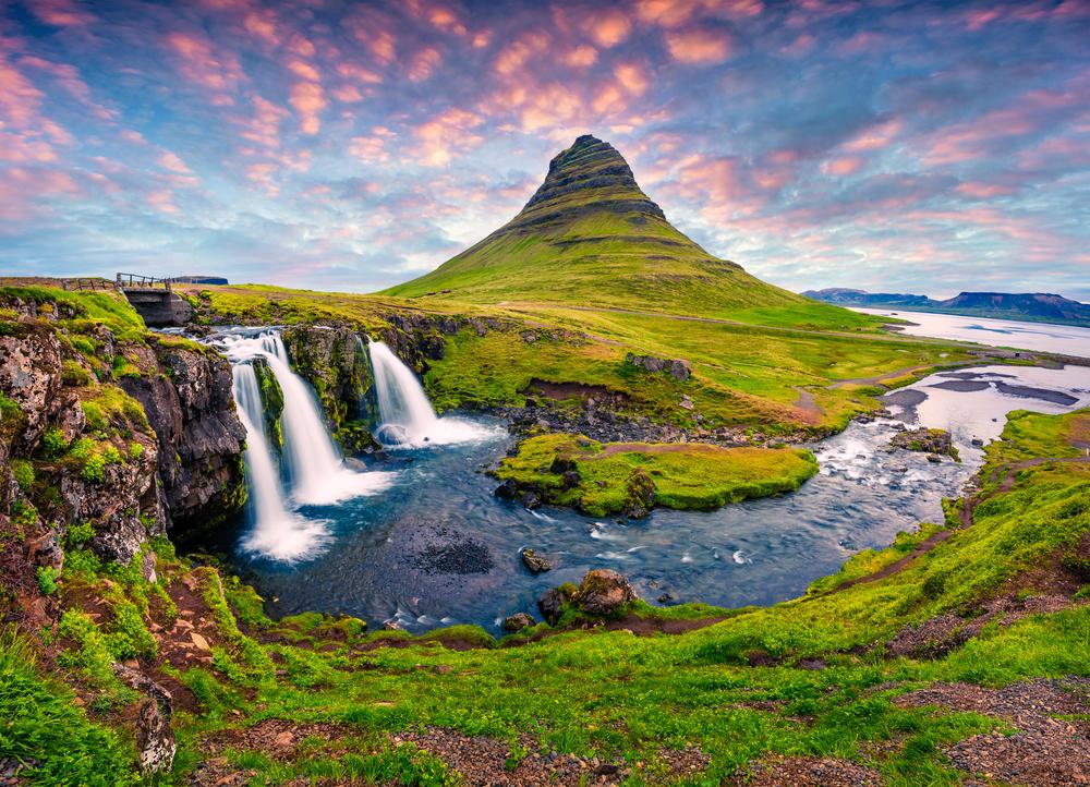 Kirkjufellsfoss Waterfall with Kirkjufell Mountain 5 Days in Iceland