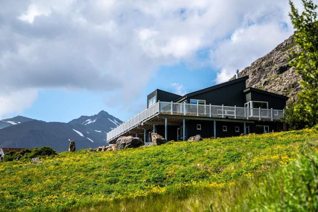 Luxury airbnb in iceland on rolling hills