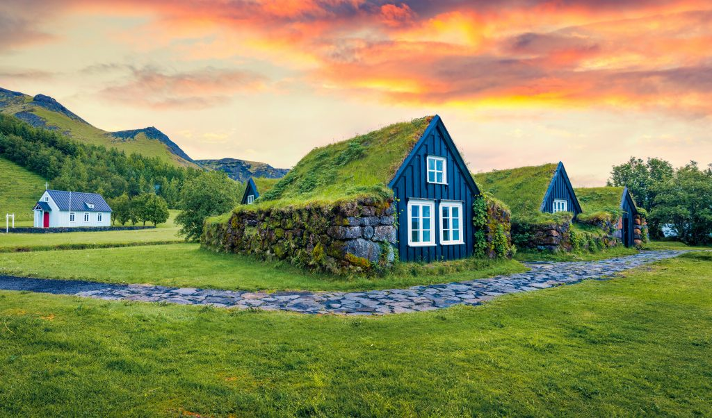 Turf Houses in Iceland sunset best airbnbs in Iceland