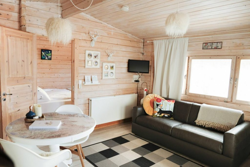 Light wood interior airbnb in iceland