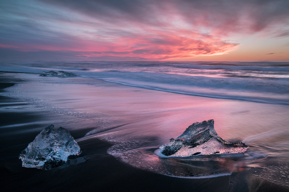 sunset on glacier beach in Iceland