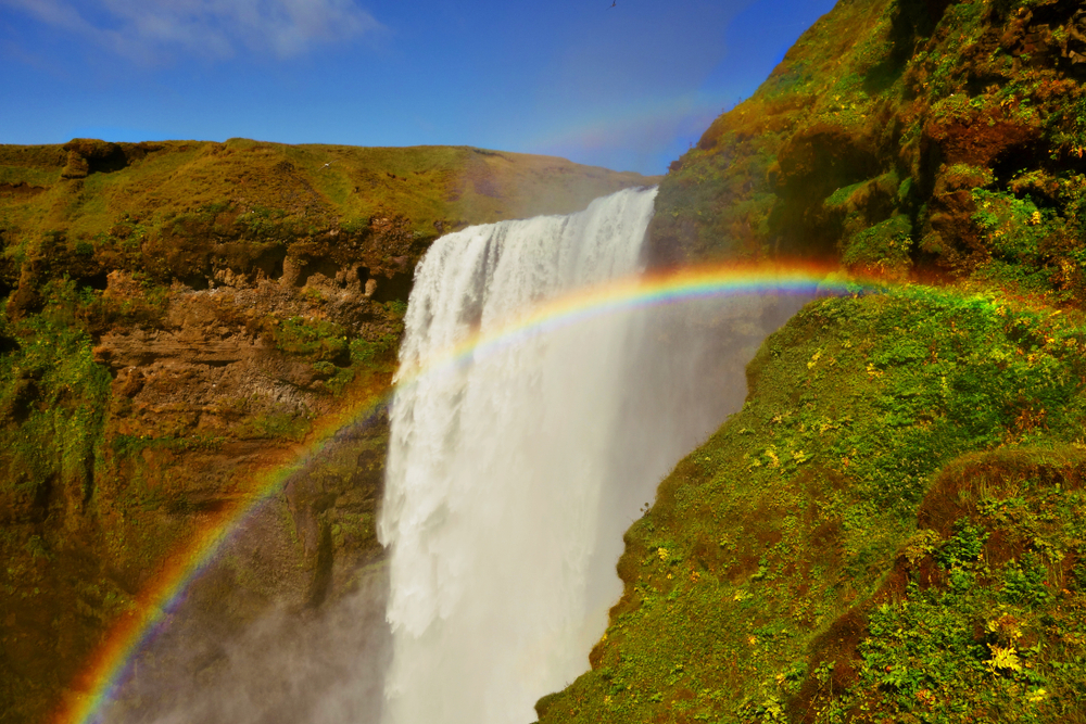 skogafoss waterfall in iceland with a rainbow in front of it on a sunny day
