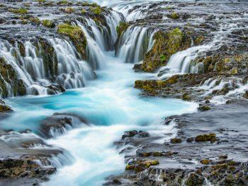 Bruarfoss Waterfall is the bluest waterfall in Iceland.