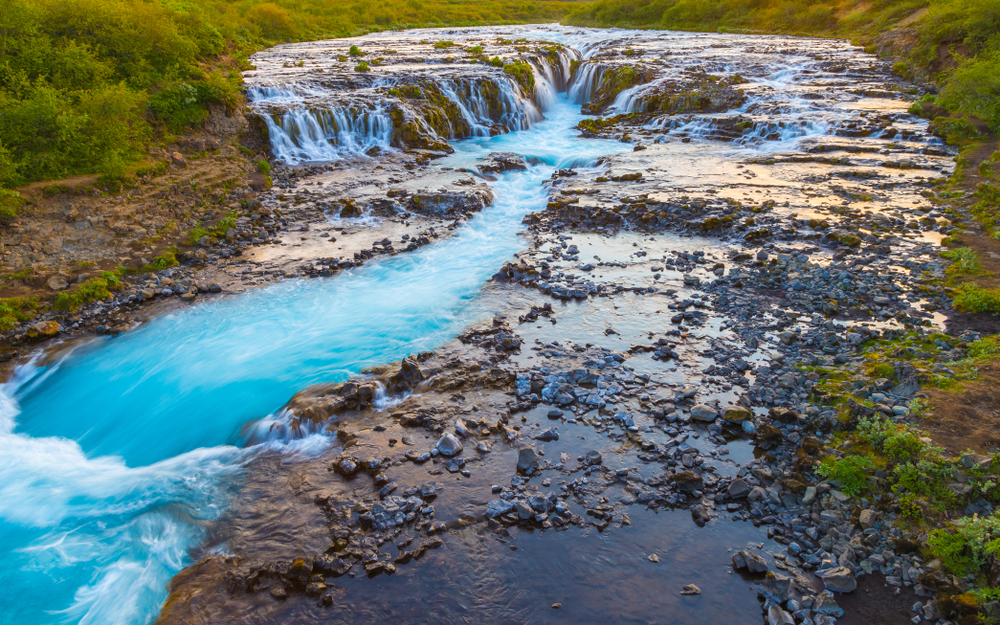 Bruarfoss Waterfall is known as Iceland's bluest waterfall as seen here.