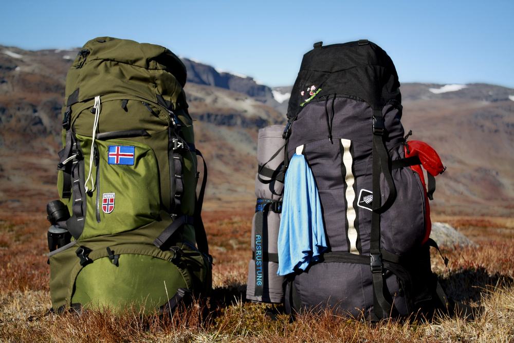 Two large camping backpacks sitting in a nature landscape.