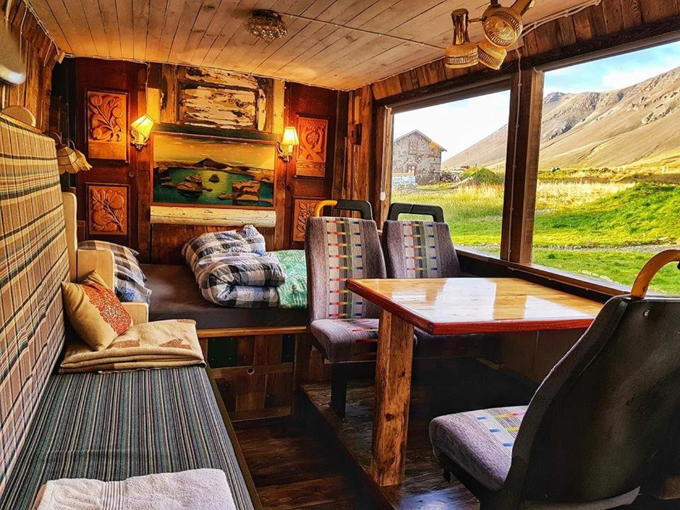 Rustic farm stay in countryside of Iceland within a refurbished old school bus