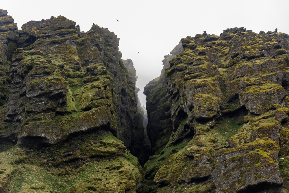 Moody gorge covered in mist on Snaefellsnes Peninsula in Iceland