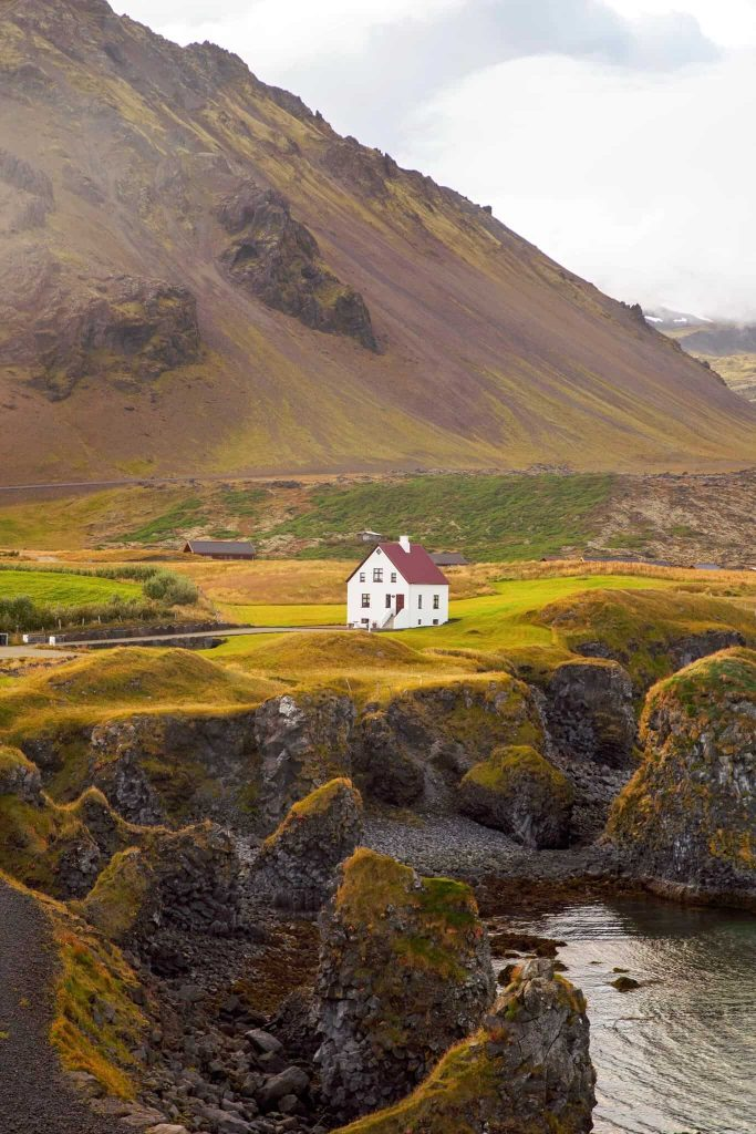 white house with red roof on the coast of iceland with brown grass on a cloudy day