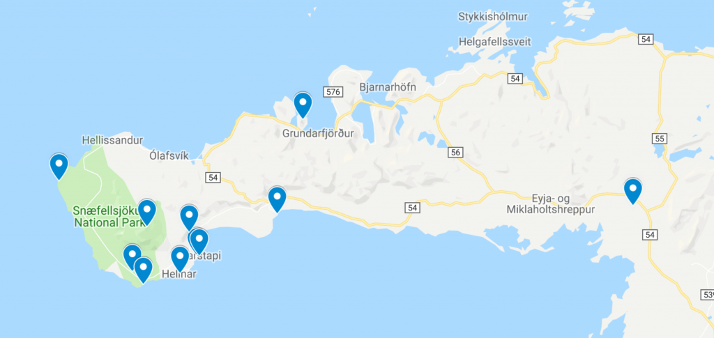 Snaefellsnes Peninsula map | map of things to do on the Snaefellsnes Peninsula