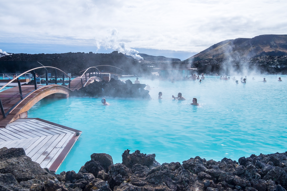 people swimming on a nice moody at the blue lagoon in iceland in 3 days