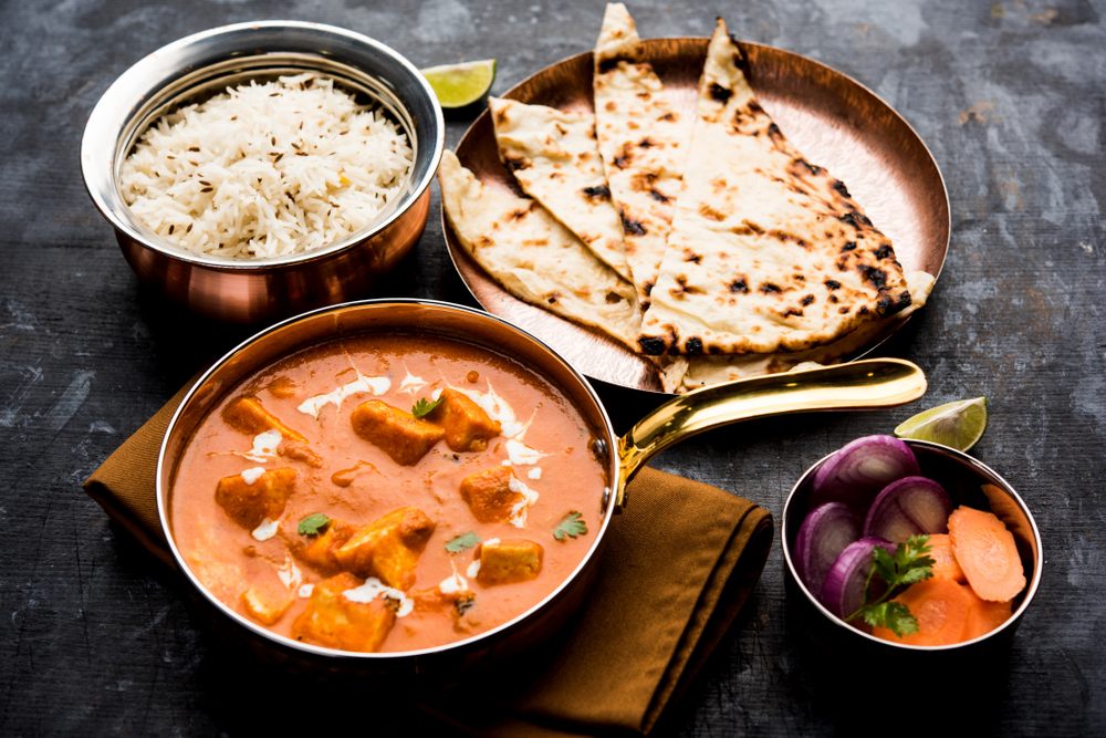 paneer masala and naan like you can find at the authentic Indian food restaurant Austur Indiafjelagid in Reykjavik