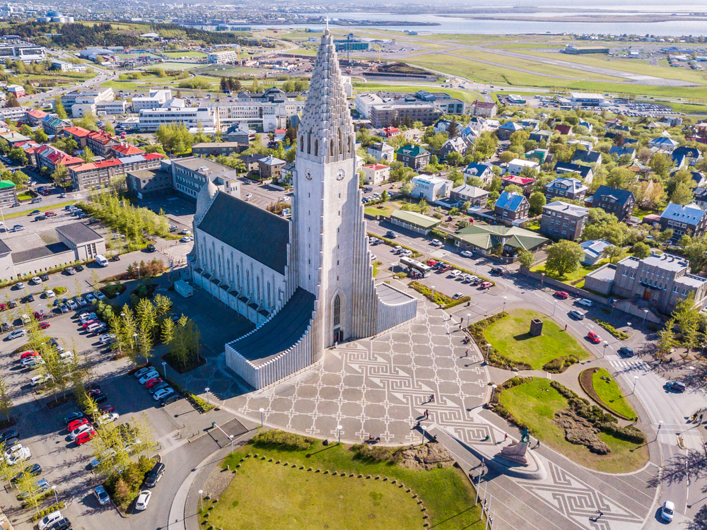 a view of the church and Reykjavik city from above