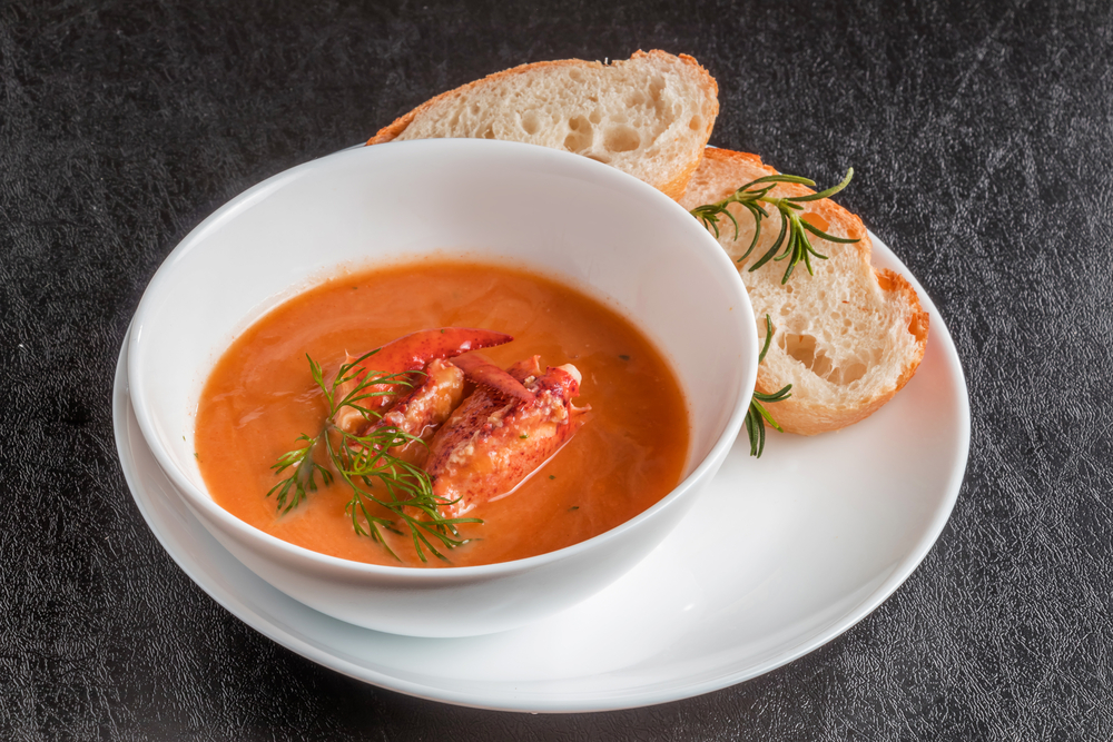 lobster soup like the kind the harbor restaurant Sea Baron is famous for