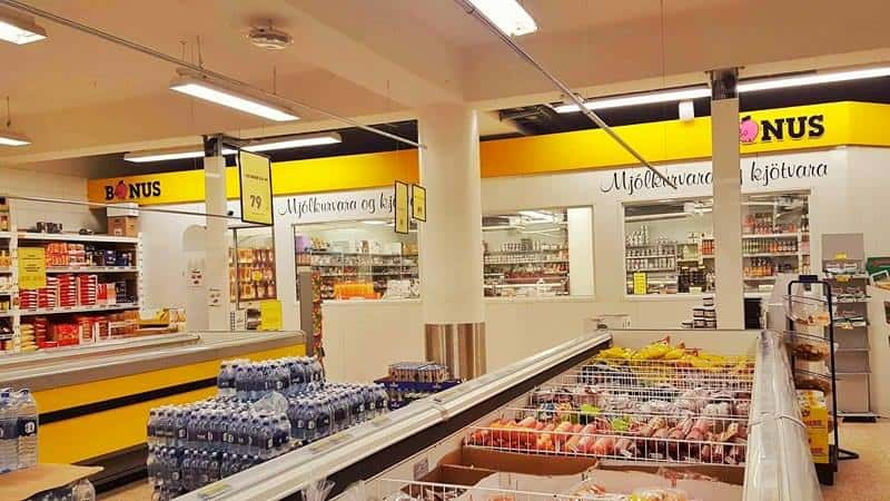 inside of a grocery store in iceland