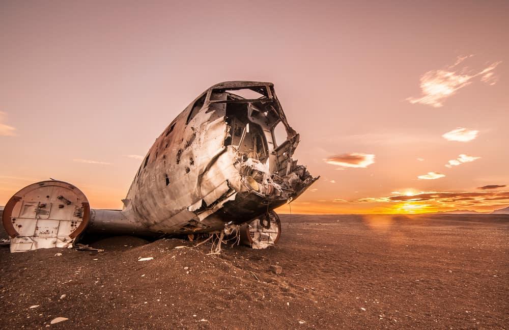 sunset at the Iceland plane crash