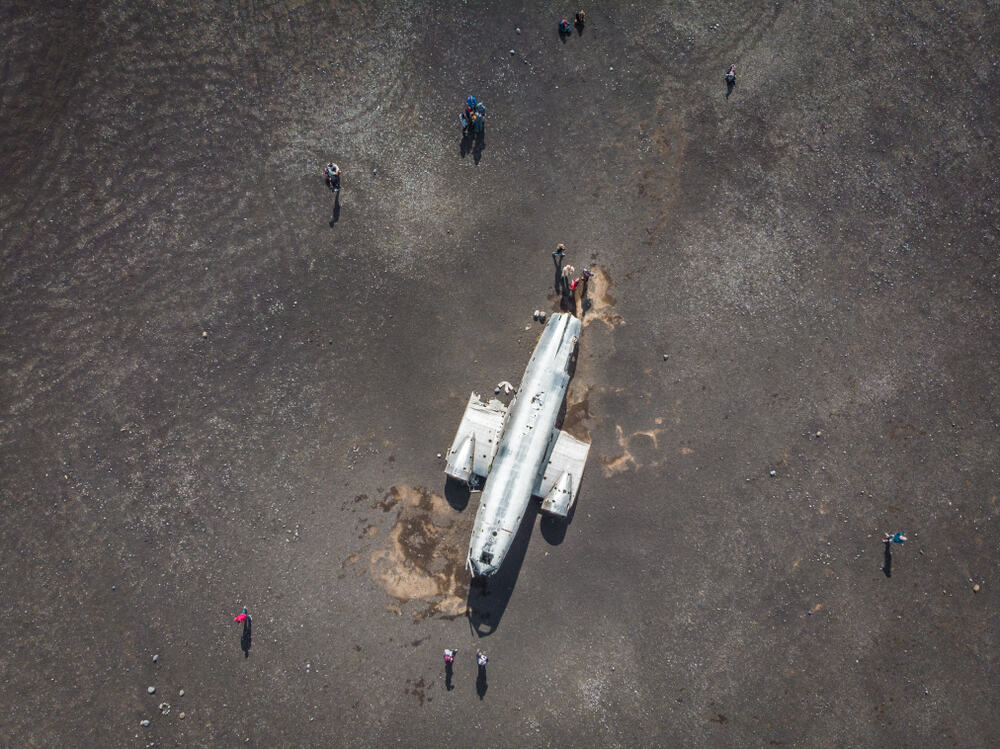 aerial view of the Iceland plane crash