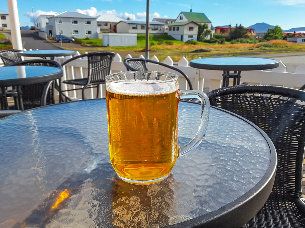 beer outside on a table in Iceland