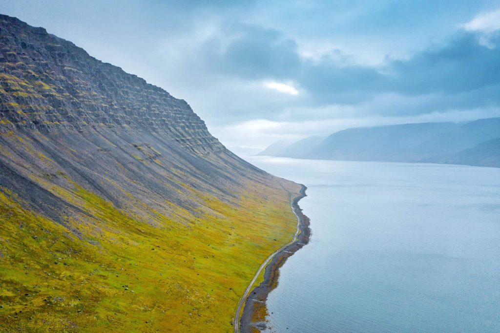 drone image of the westfjords on a cloudy day