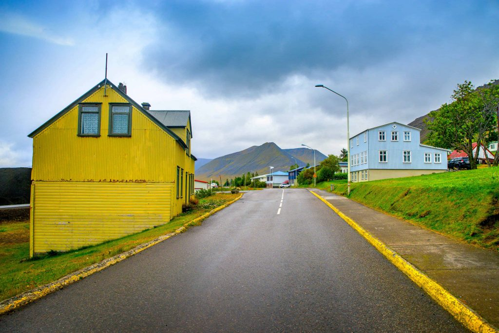 houses in the westfjords iceland after a rain storm