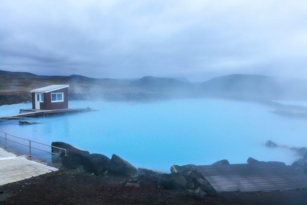 Landscape and fog surrounding Myvatn Nature Baths.