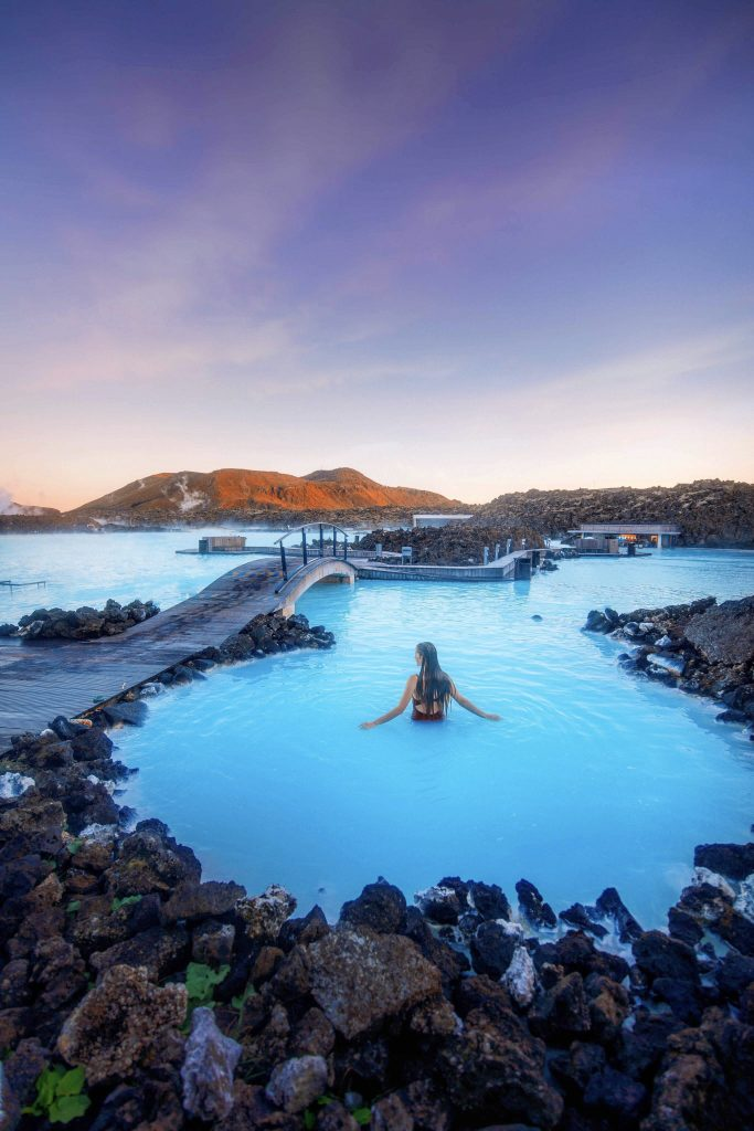soaking in the healing waters of the Blue Lagoon