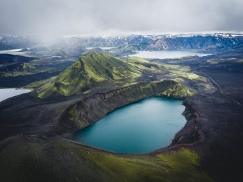 mountain and blue lake in the highlands in iceland