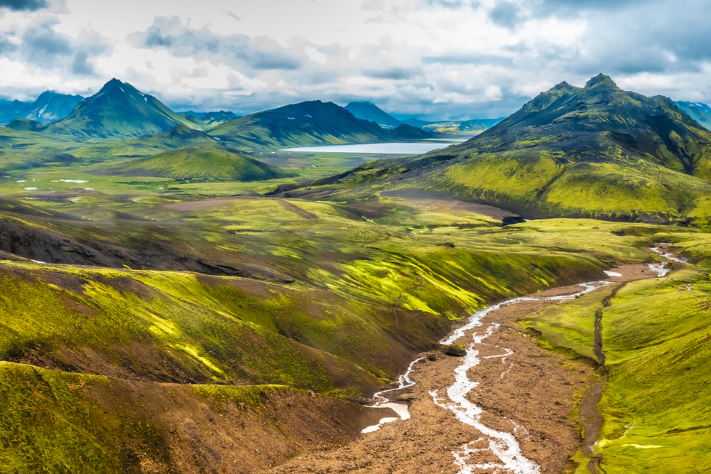 Green and brown mountains in the highlands in Iceland.