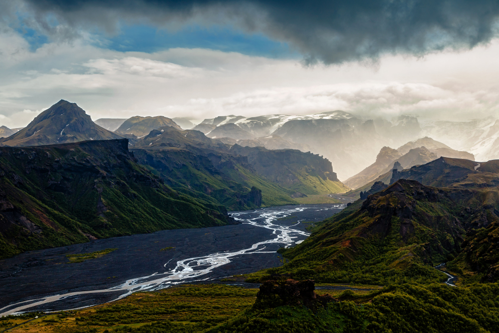 The rugged landscape of Thorsmork with low clouds.