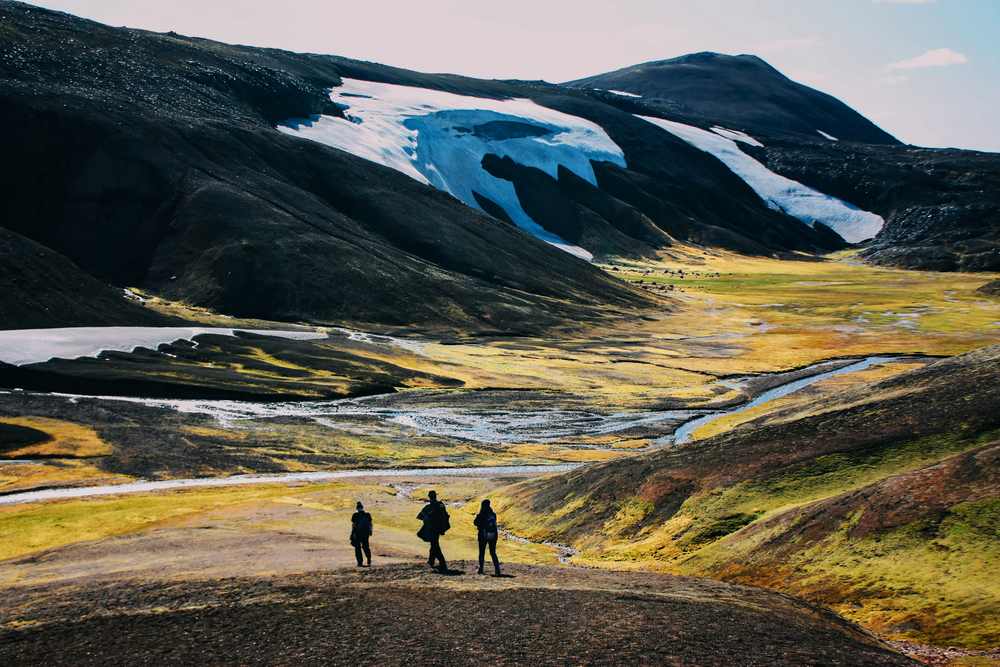 Group of hikers on a tour in the highlands in Iceland.