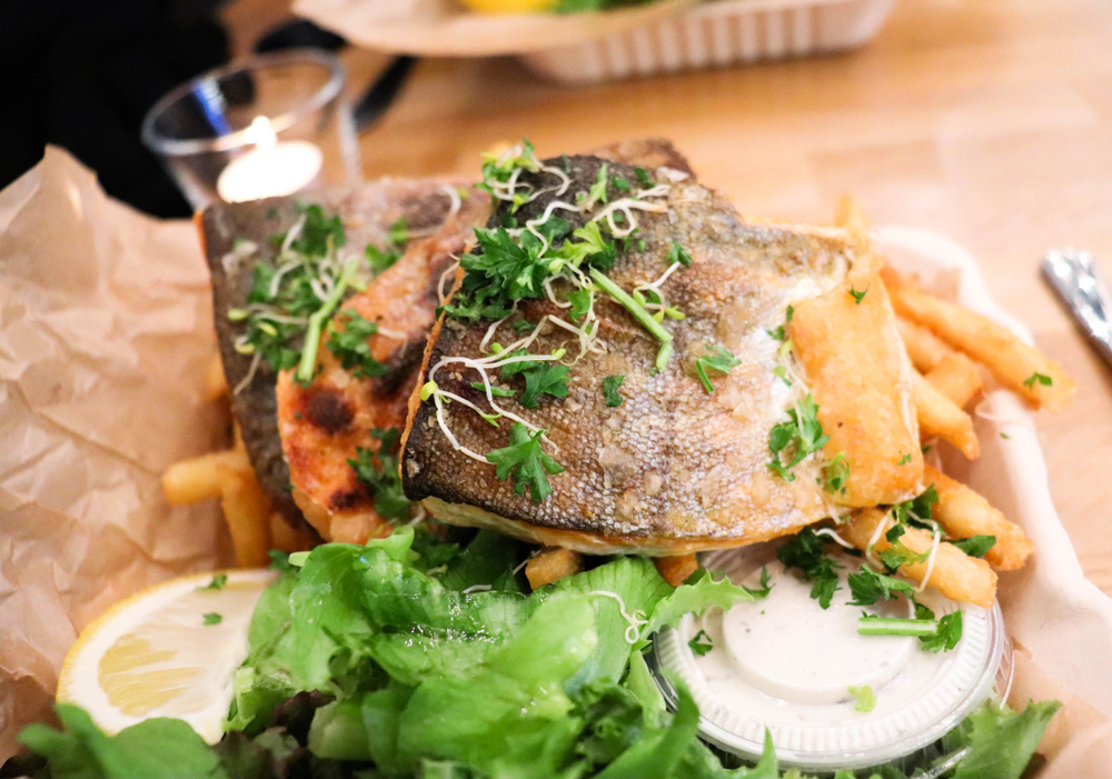 Artic Char with Fries and an article about restaurants in Iceland