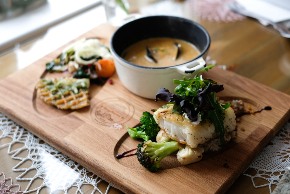 Icelandic food on a plate with soup and fish