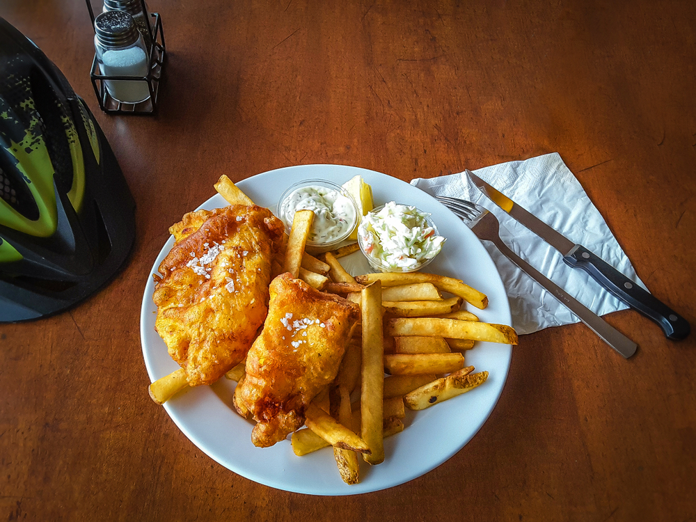 Fish and chips on a plate in an article about restaurants in Iceland