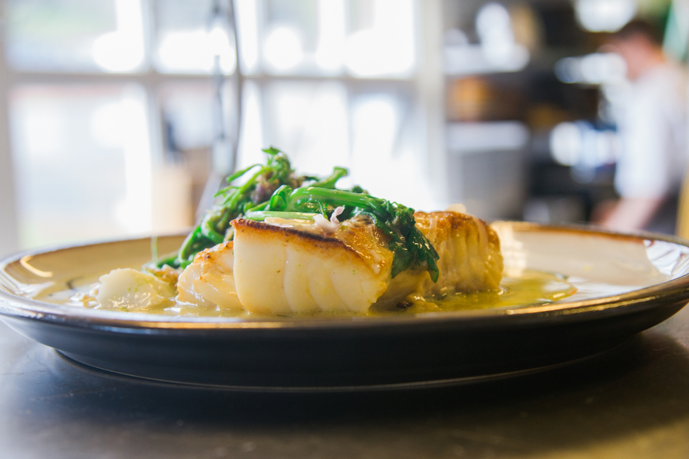 Cod on plate in a restaurant