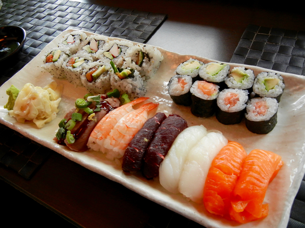 Fresh Sushi on a plate in an article about restaurants in Iceland