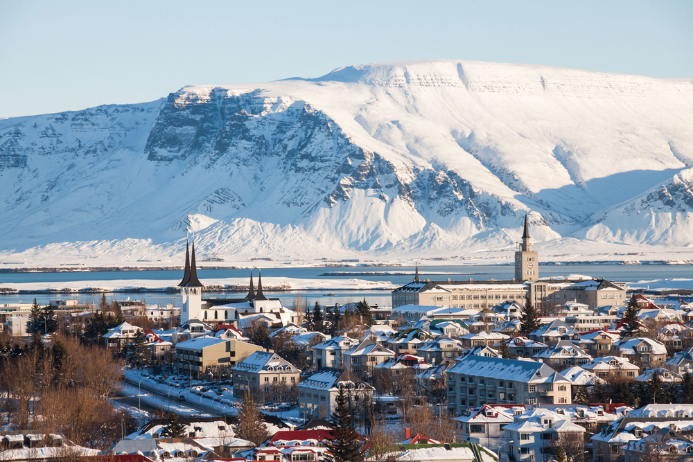 An aerial view of Reykjavik in an article about restaurants in Iceland