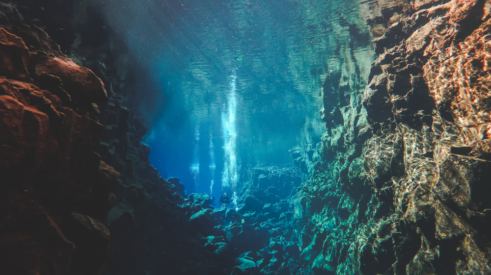 Iceland's Silfra fissure Divers bubbles float to the top of the fissure from 18 meters below.