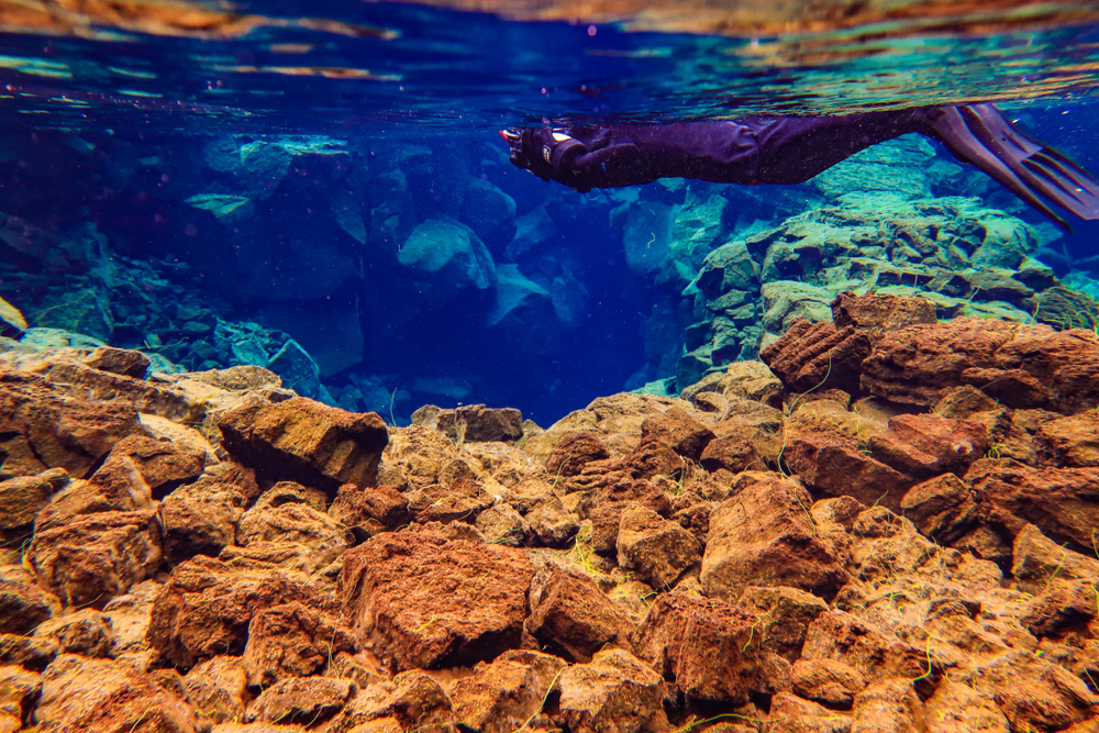 A man floats along in a wetsuit and flippers, close to the shelves of the tectonic plates at the silfra fissure snorkeling tour in iceland